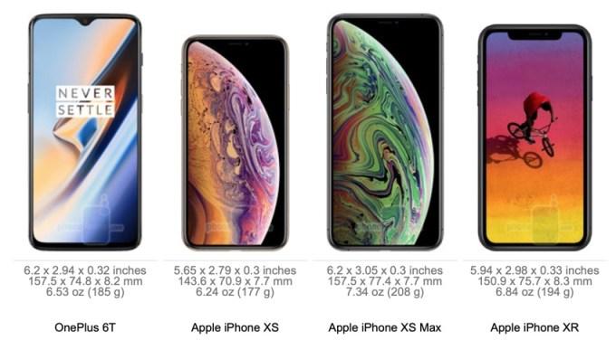 Wymiary OnePlus 6T vs. iPhone XS, XS Max i XR