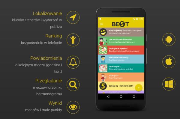"""""""Squash apka BE5T"""" aplikacja mobilna dla grających w squasha"""