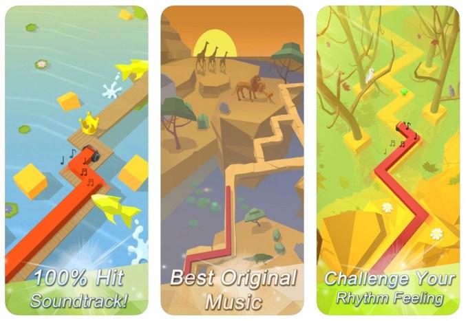 Zrzuty ekranu z gry mobilnej Dancing Line