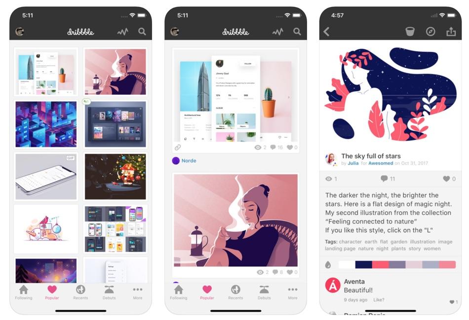Dribbble zrzuty ekranu aplikacji na iPhone'a