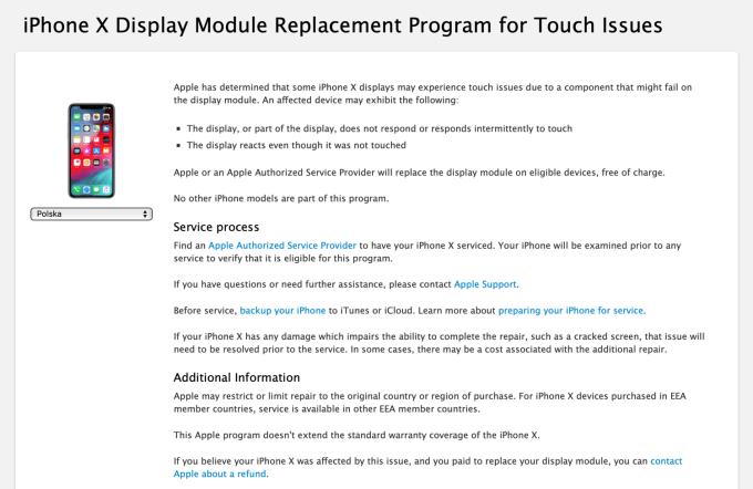 Program wymiany wadliwych wyświetlaczy iPhone X