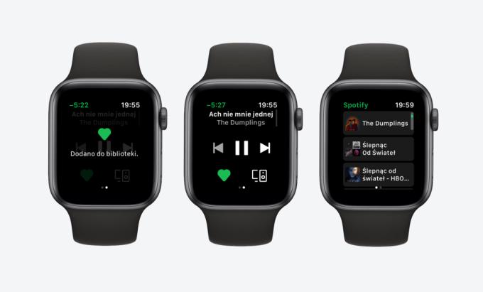 Aplikacja Spotify na Apple Watcha (polskie zrzuty ekranu)