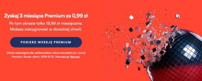 Promocja Spotify Premium 3 mies. za 0,99 zł dla nowych użytkowników