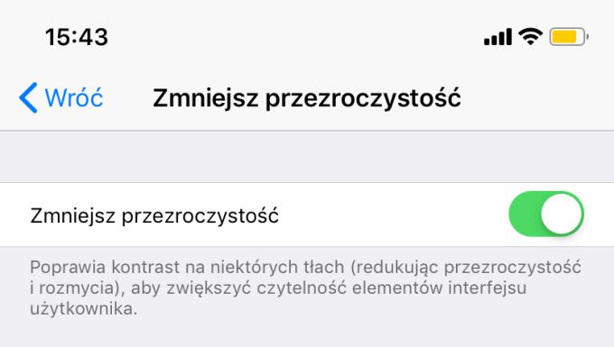 Zmniejsz przezroczystość (iOS 12.1)
