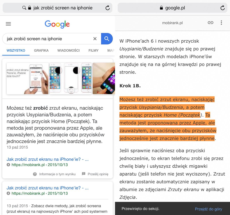 Fragmenty stron AMP z odpowiedziami w wyszukiwarce Google (1)