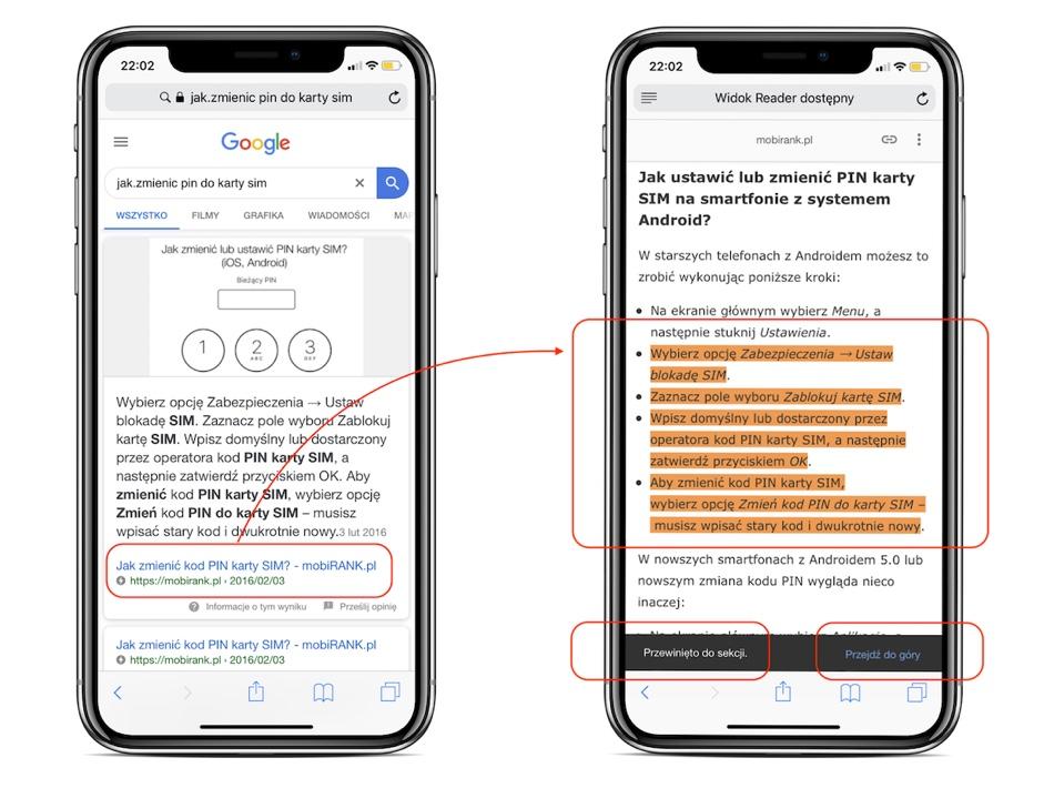 Fragmenty odpowiedzi ze stron AMP w wyszukiwarce Google na urządzeniach mobilnych