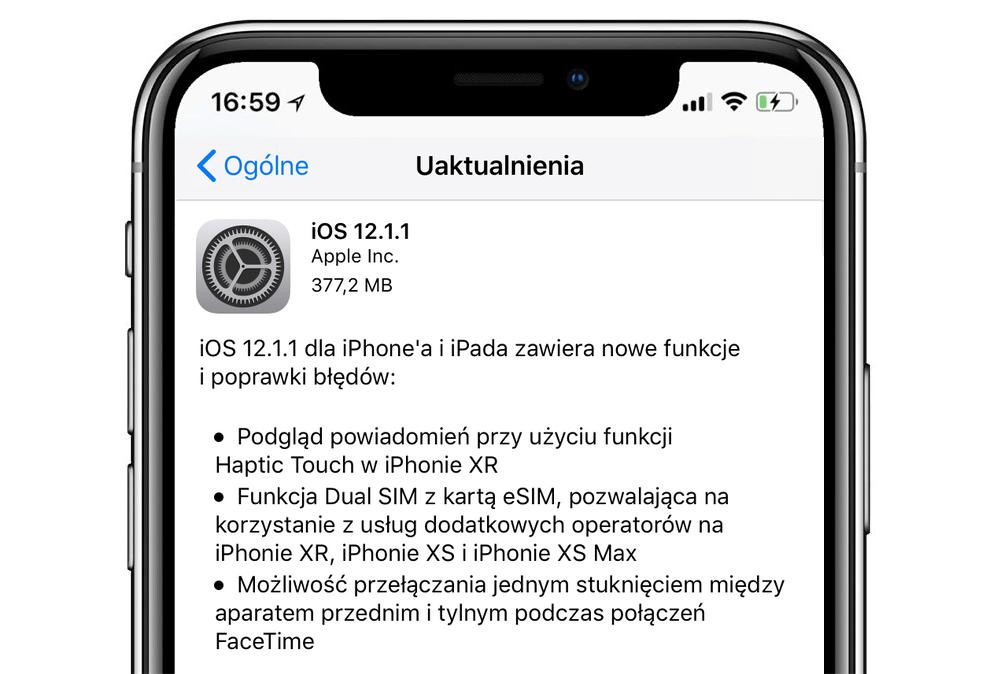 iOS 12.1.1 - update OTA (iPhone screen)