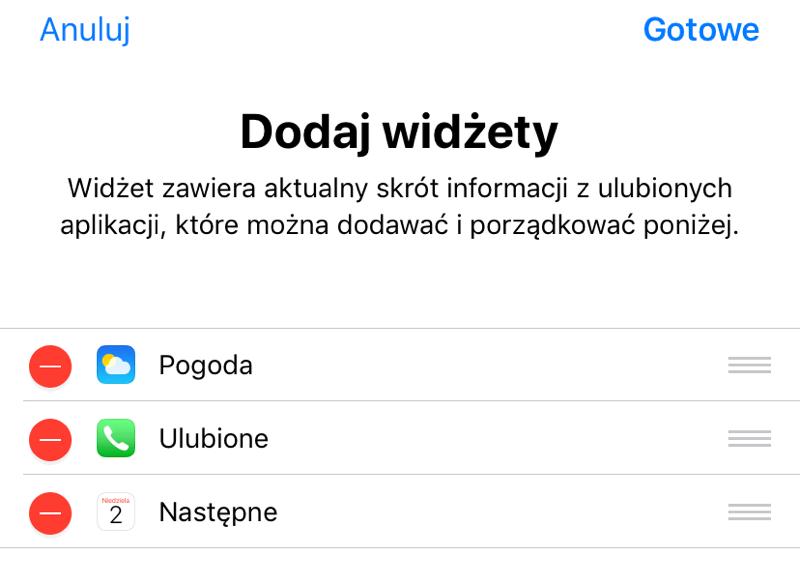 Dodaj widżety (iOS)