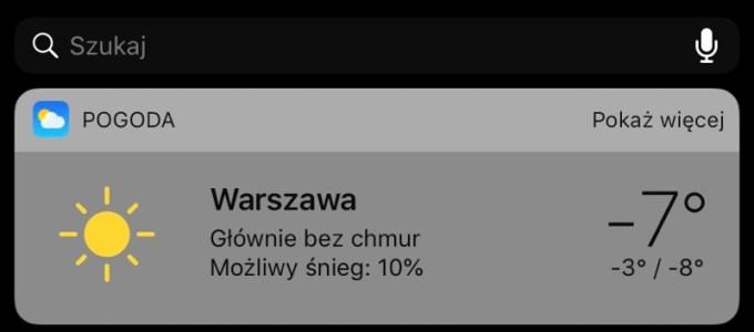 Widżet Pogoda (iOS, iPhone)