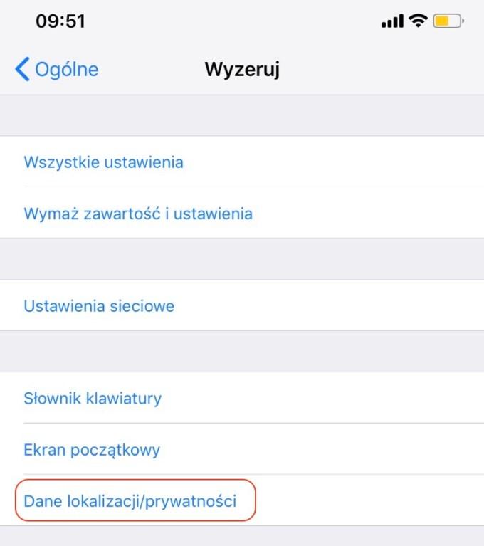 Wyzeruj Dane lokalizacji/prywatności (iOS)