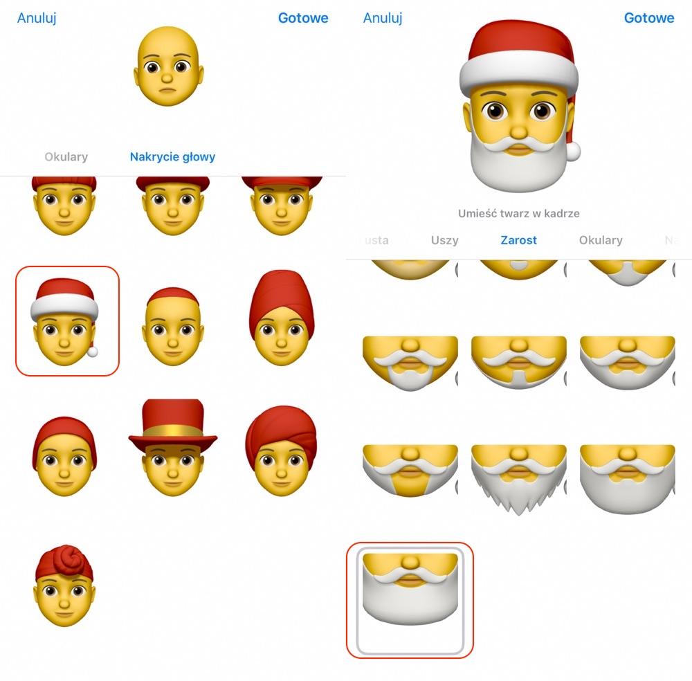 Dodawanie czapki i brody Świętego Mikołaja do Memoji