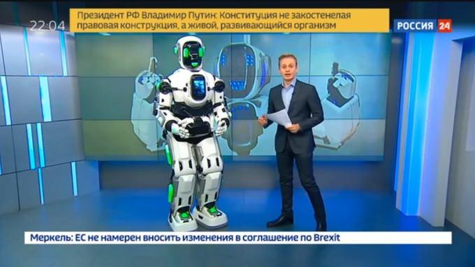Robotoczłowiek Borys, w rosyjskiej telewizji, ale nikt nie powiedział, że to człowiek...