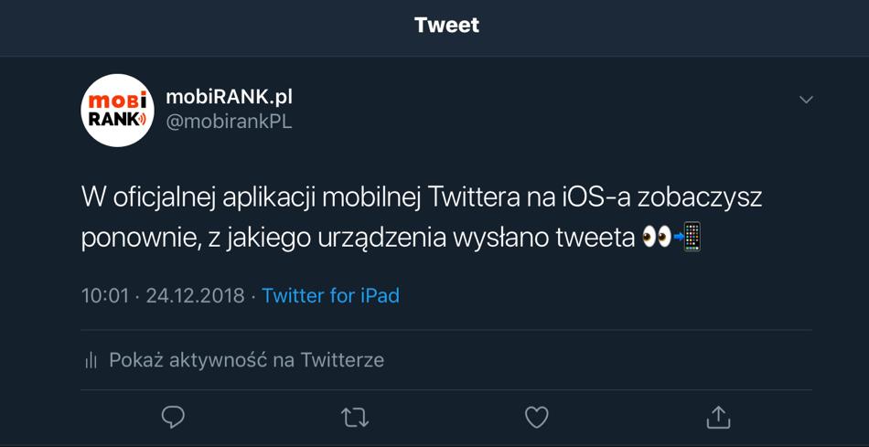 Twitter na iOS-a wyświetla nazwę aplikacji z jakiej wysłano tweeta