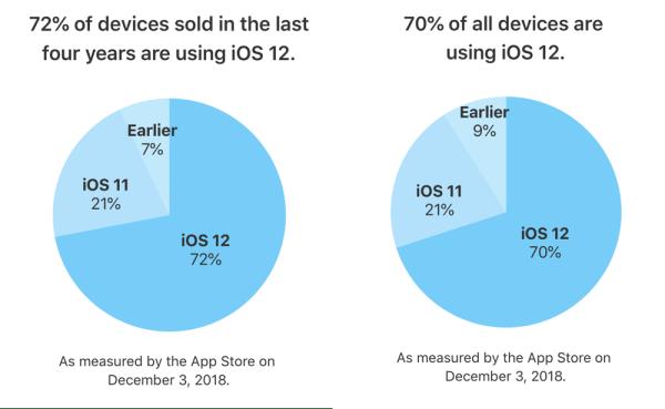 Udział wersji systemu iOS 12 w grudniu 2018 r.