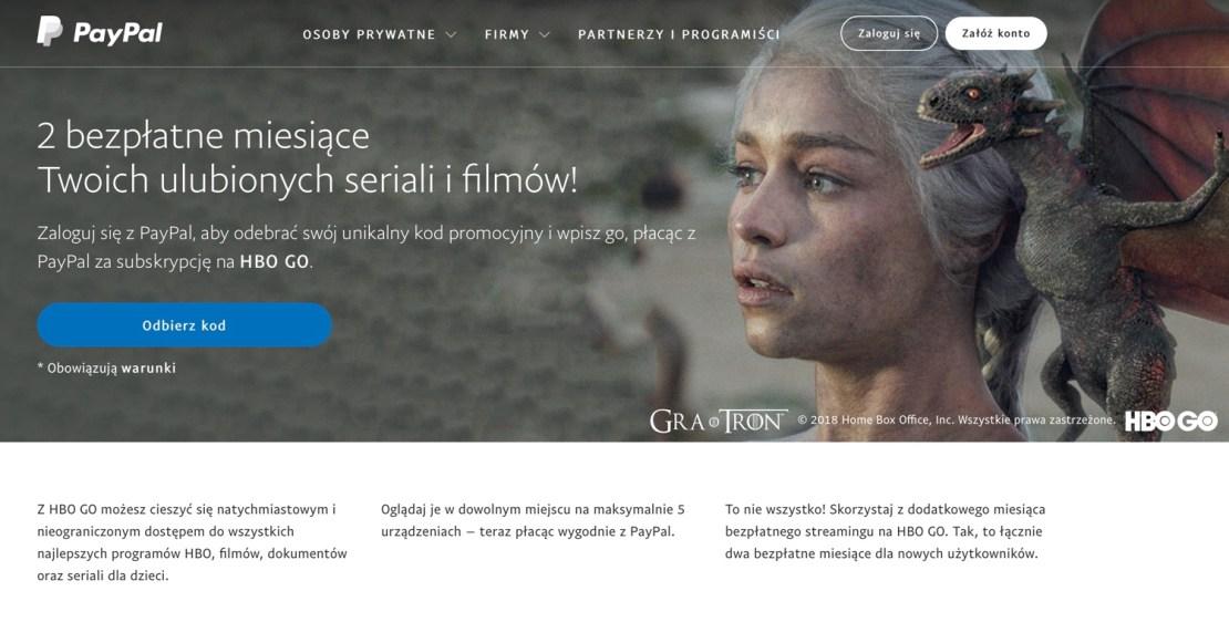 2 miesiące dostępu do HBO GO za darmo przy płatności za pomocą PayPal