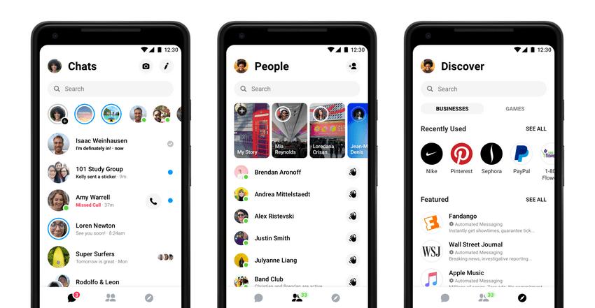 Nowy interfejs aplikacji Facebook Messenger (2019) - aplikacja mobilna
