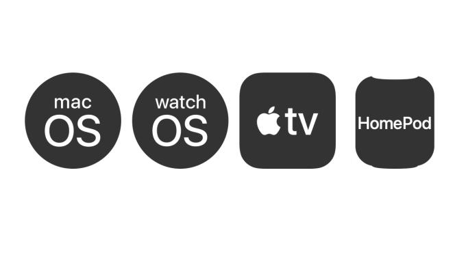Ikony systemów operacyjnych firmy Apple (od lewej: macOS, watchOS, tvOS, HomePod OS)