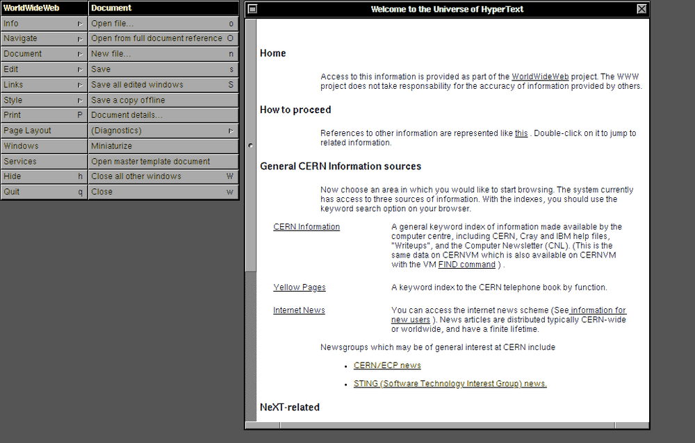 WorldWideWeb HyperText - history browser 1990 (CERN)