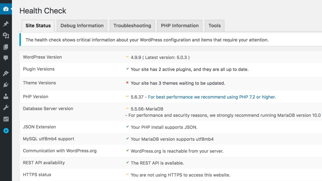 Funkcja Health Check pod WordPressem 5.1