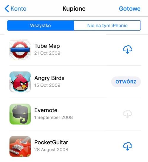 Lista Twoich pierwszych aplikacji, które pobrałeś ze sklepu App Store