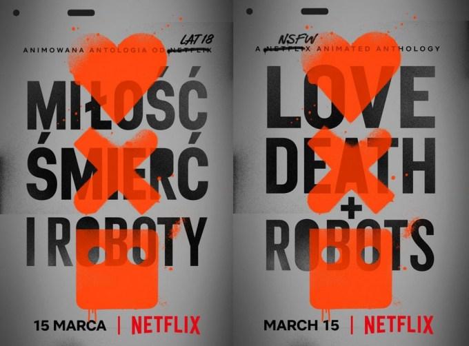 """Plakat serialu: """"Miłość, śmierć i roboty"""" (tytuł oryg. """"Love, Death + Robots"""") Netflix"""