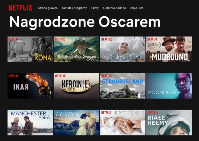 """Kategoria """"Nagrodzone Oscarem"""" w serwisie Netflix"""