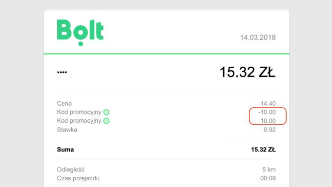 Rachunek za przejazd w Bolt