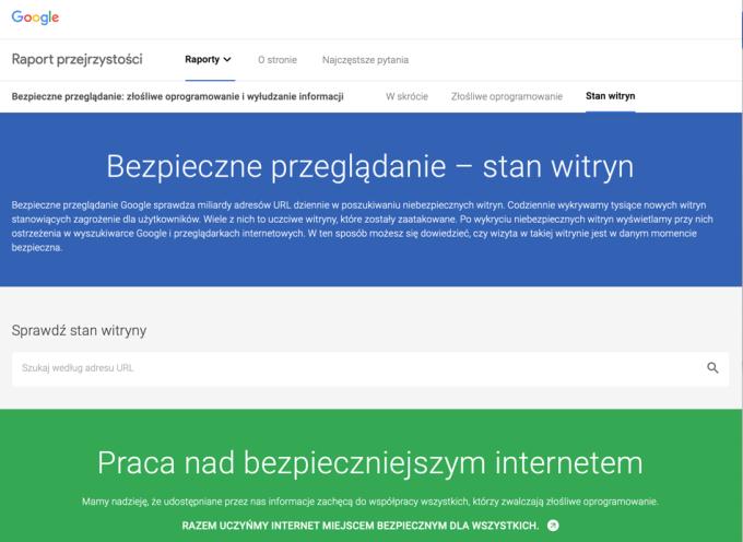 Bezpieczne przeglądanie – stan witryn