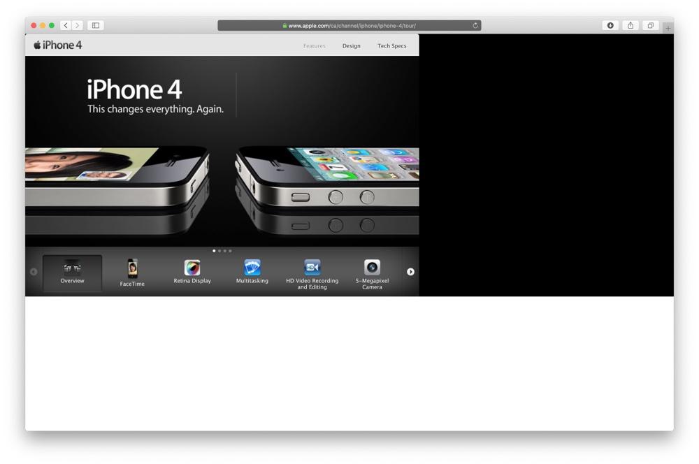 Strona iPhone'a 4 z 2010 roku w przeglądarce z 2019 roku