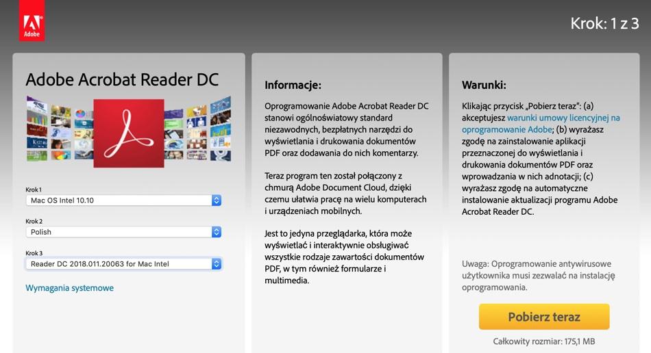 Pobieranie instalatora programu Adobe Acrobat Reader