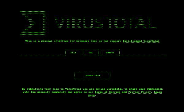 Serwis VirusTotal w stylu retro z nową witryną ASCII