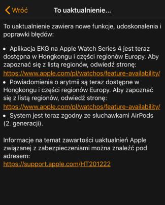 Uaktualnienie watchOS 5.2 (info cd.)