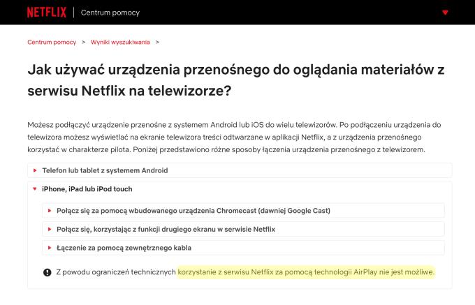 Jak używać urządzenia przenośnego do oglądania materiałów z serwisu Netflix na telewizorze?