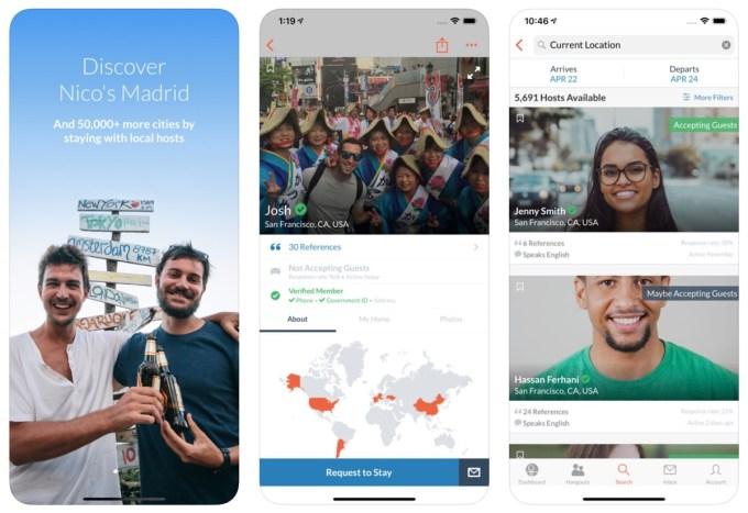 Zrzuty ekranu aplikacji Couchsurfing