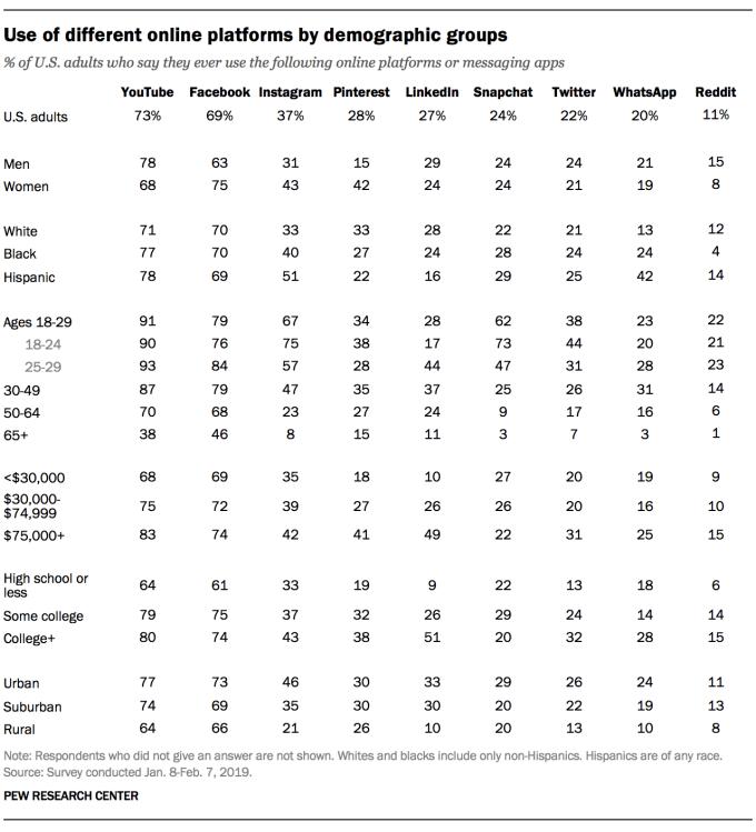 Demografia użytkowników social mediów w USA (luty 2019)
