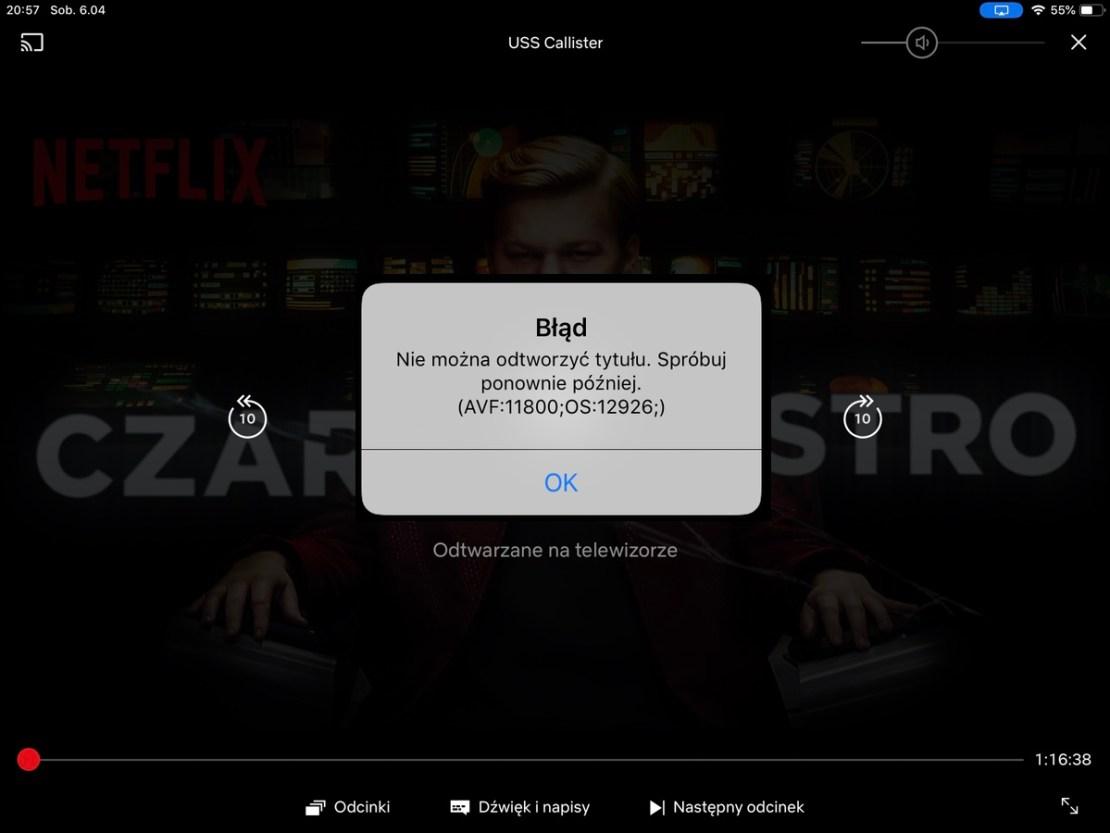 Błąd AirPlay Netflix iOS 12
