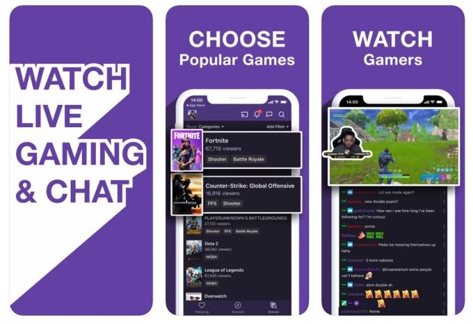 Screeny z aplikacji mobilnej Twitch