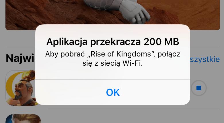 Limit pobierania przez sieć komórkową w sklepie App Store do 200 MB