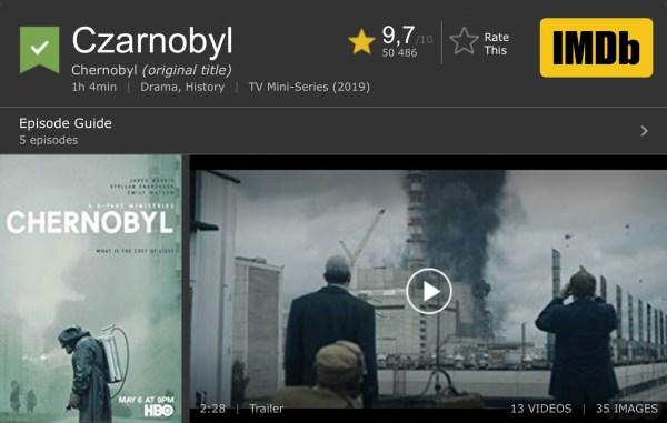"""Serial """"Czarnobyl"""" na 1. miejscu w rankingu na IMDb"""