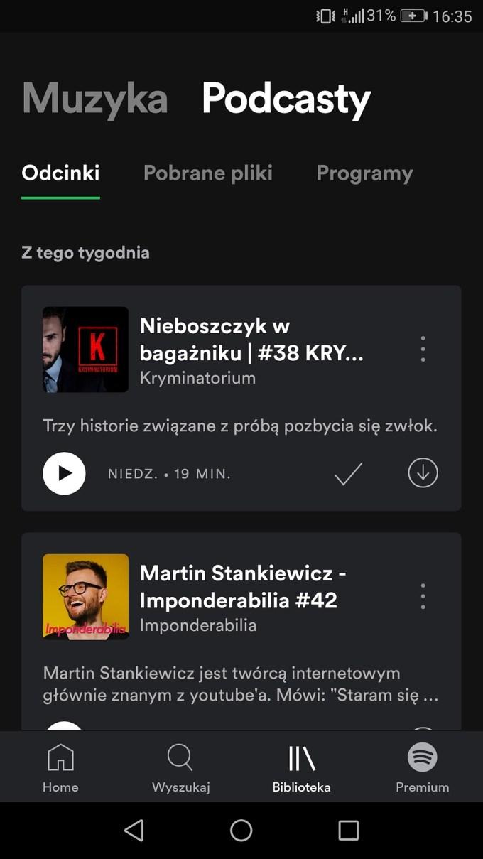 Podcasty w aplikacji Spotify (screen)