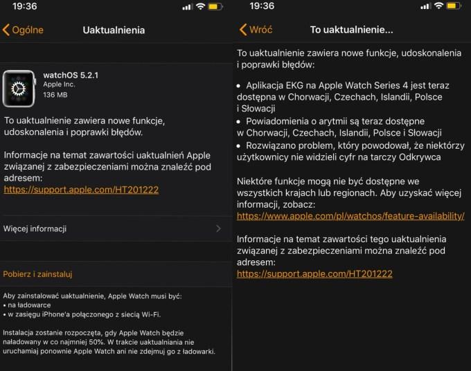 Uaktualnienie systemu watchOS 5.2.1 - lista zmian