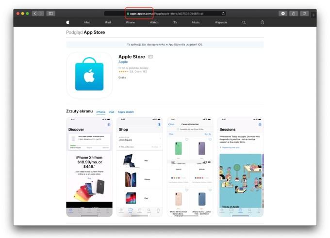 Nowy adres URL dla aplikacji w sklepie App Store