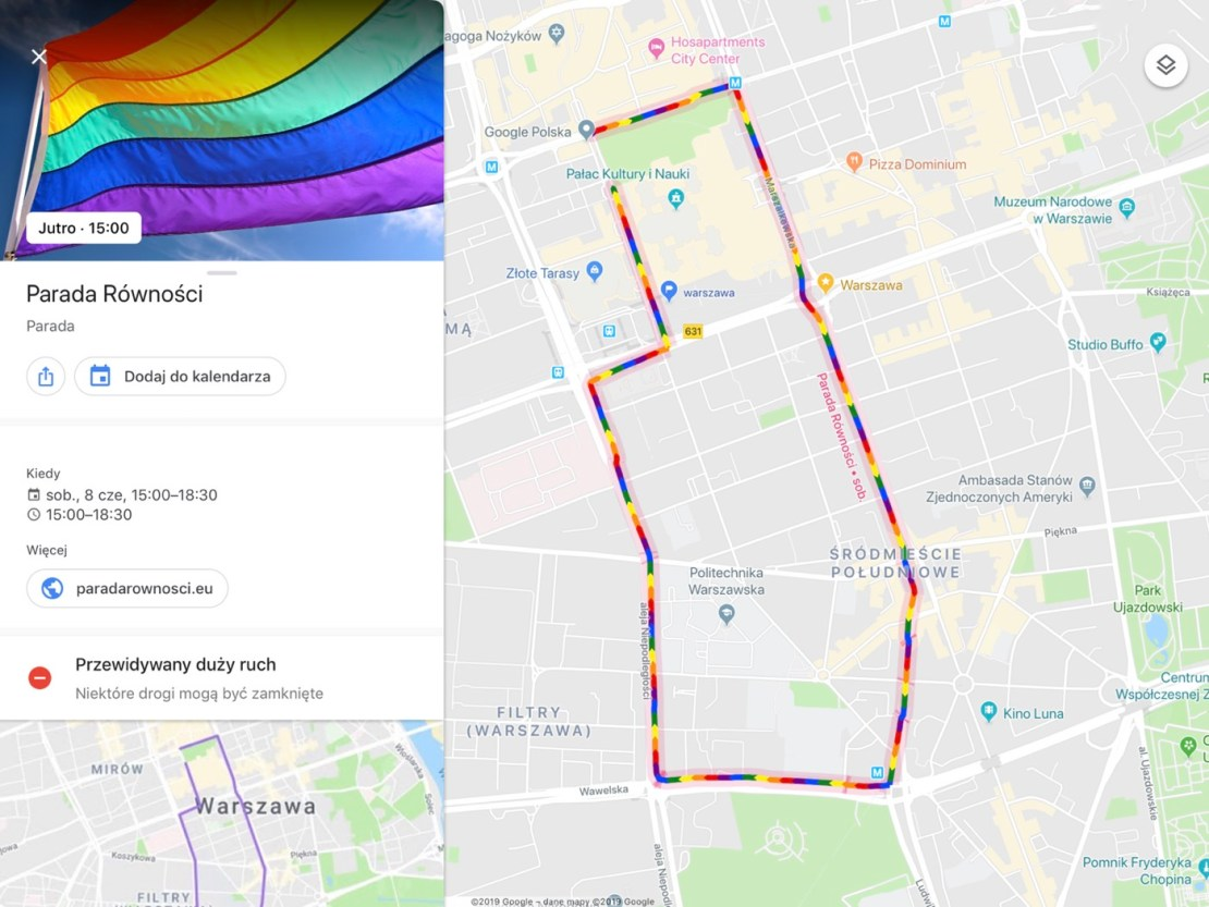 Tęczowa trasa w aplikacji Mapy Google z okazji Parady Równości 2019