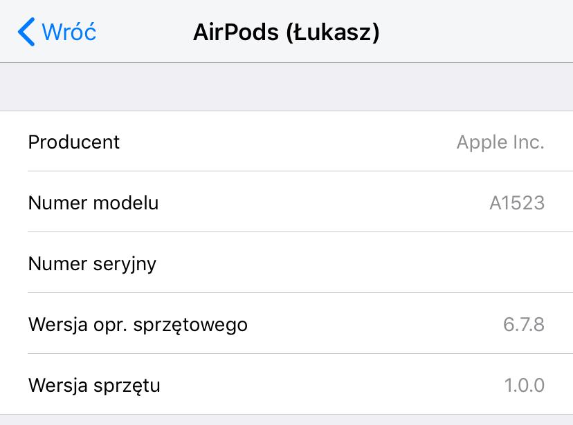 Ekran z aktualizacją oprogramowania sprzętowego (6.7.8) słuchawek AirPods