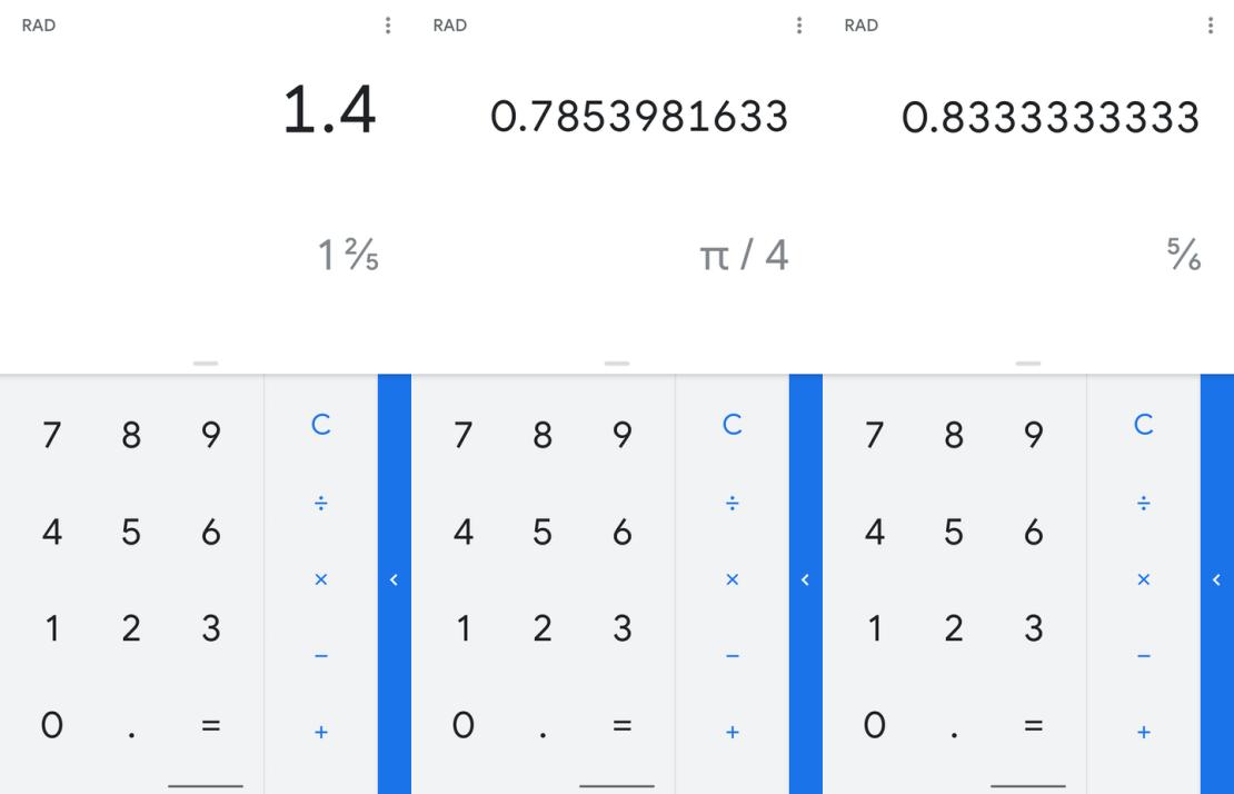 Zrzuty ekranu z aplikacji Kalkulator Google (wersja 7.7.)
