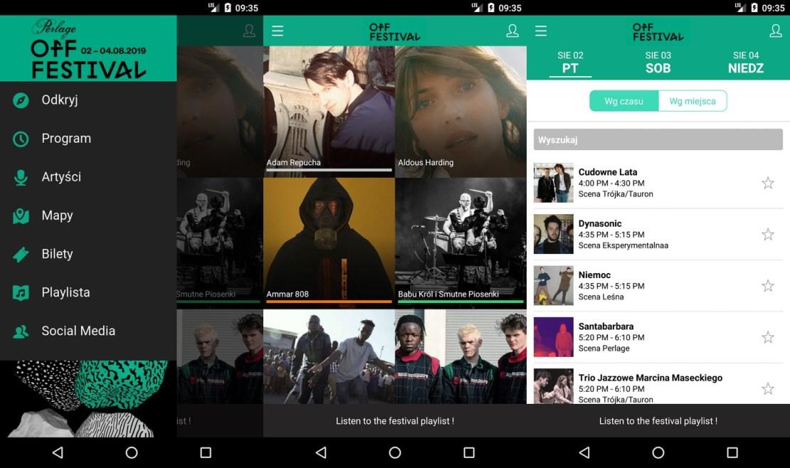 Zrzuty ekranów z aplikacji mobilnej OFF Festival 2019