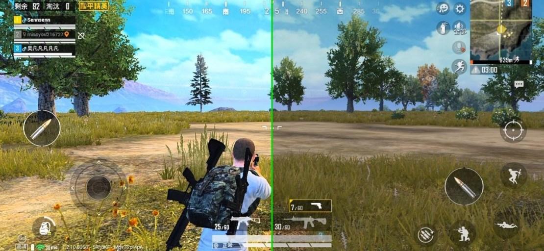 """Porównanie jakości obrazu w grze PUBG MOBILE (po lewej stronie - po włączeniu funkcji """"Game Color Plus"""")"""