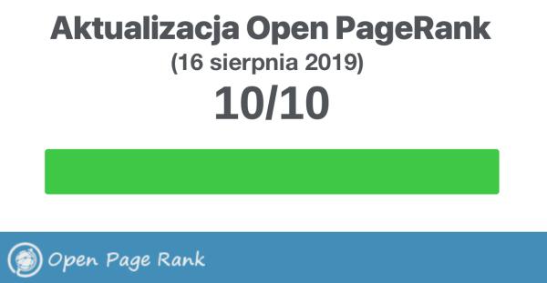 Sprawdź aktualny Open PageRank stron internetowych (sierpień 2019)
