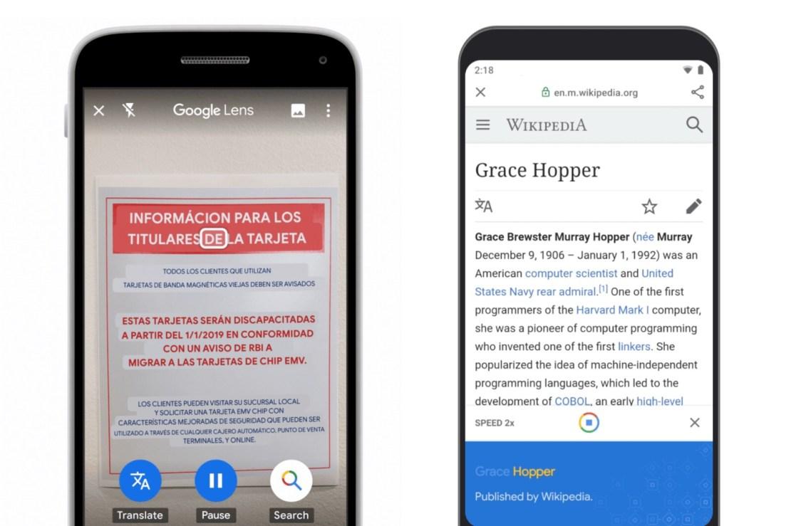 Zrzuty ekranu z aplikacji Google Go