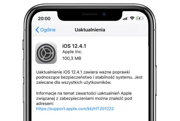 Pobierz uaktualnienie systemu iOS 12.4.1 z poprawkami zabezpieczeń